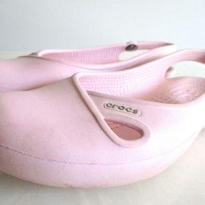 6W Pink woman's Crocs Ballet Flat sling BACK
